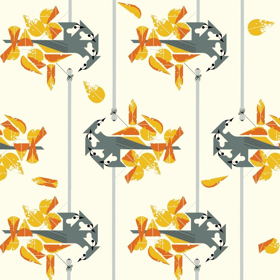 Charley Harper Lakehouse Vol. 2 - Tufted Titmouse Poplin