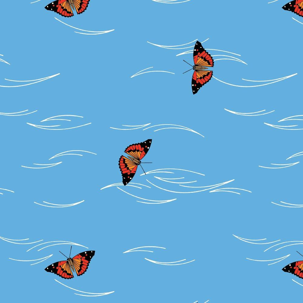 Charley Harper Hawaiian Volcanoes - Butterfly Flight (Sky Blue)