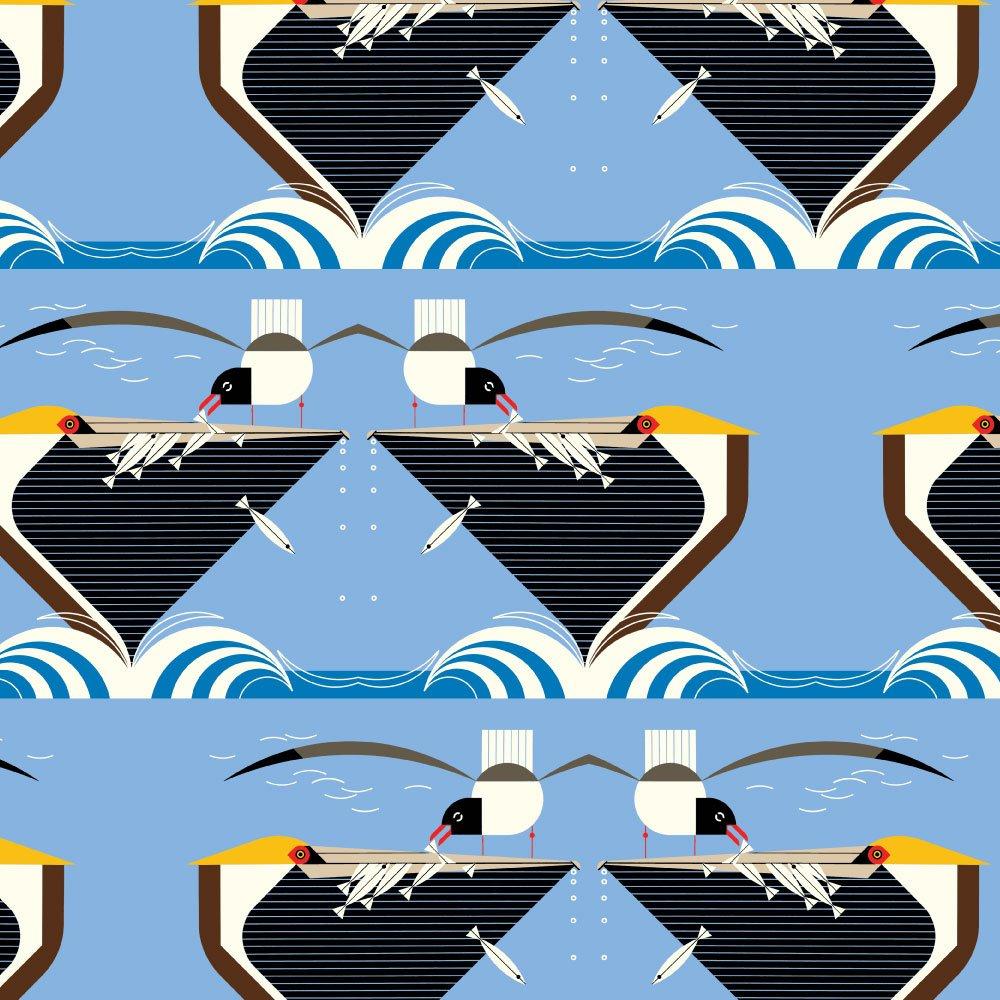 Charley Harper Coastal - Pelican Feeding (Blue)