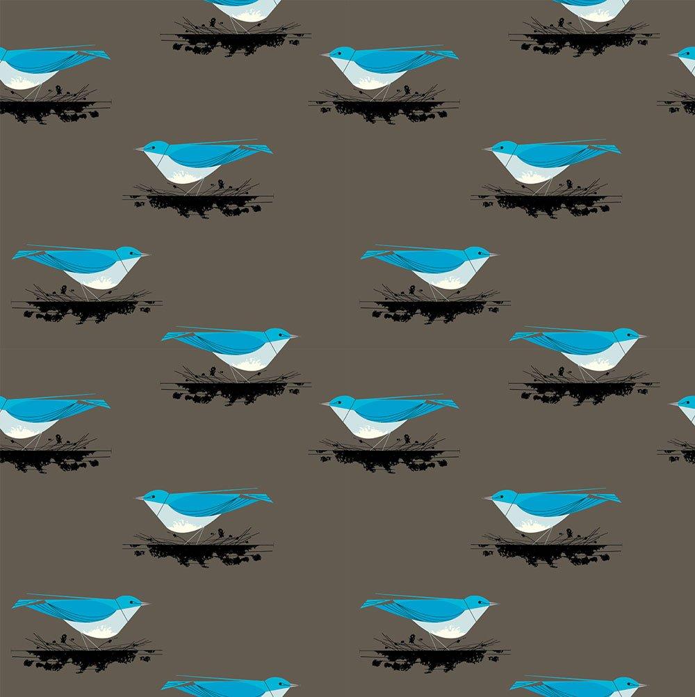 Charley Harper Western Birds - Mountain Blue Bird (Brown)