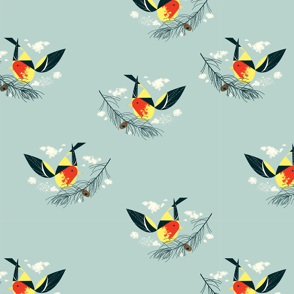 Charley Harper Western Birds - Western Tanager (Green)