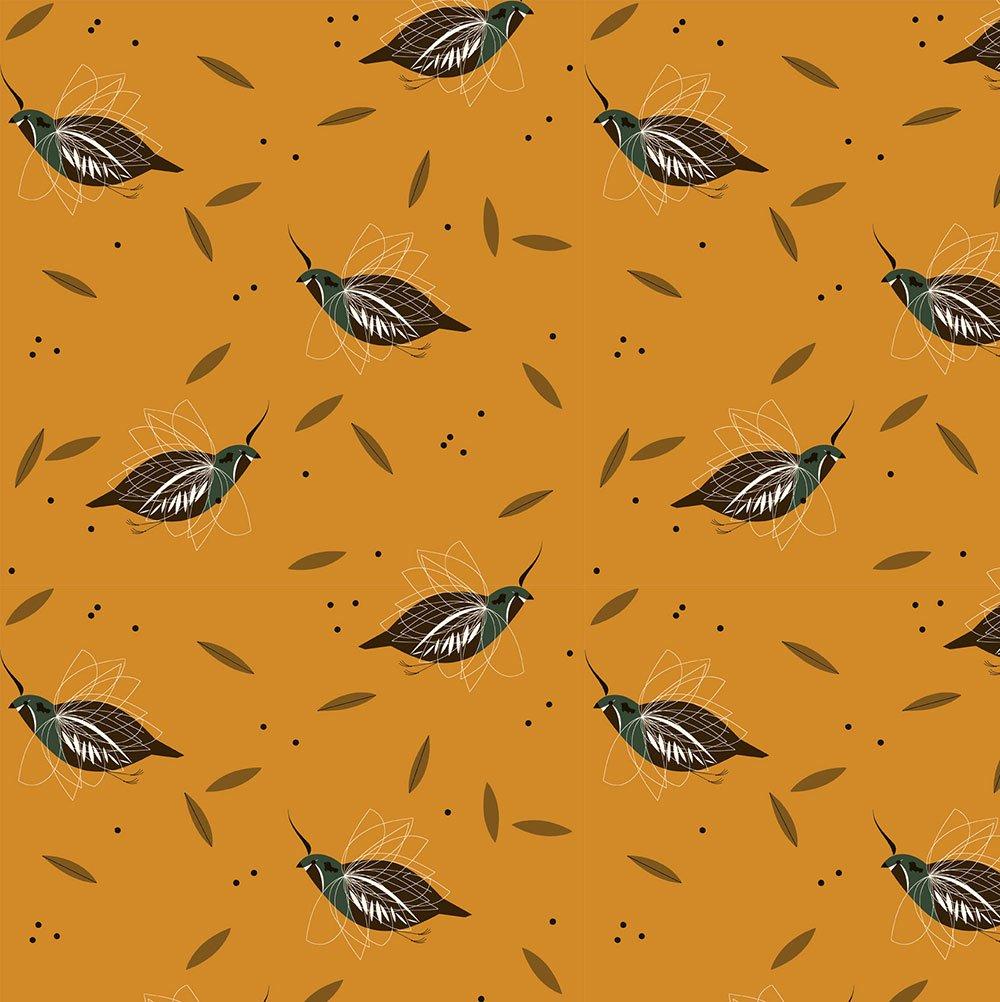 Charley Harper Western Birds - Mountain Quail (Yellow)