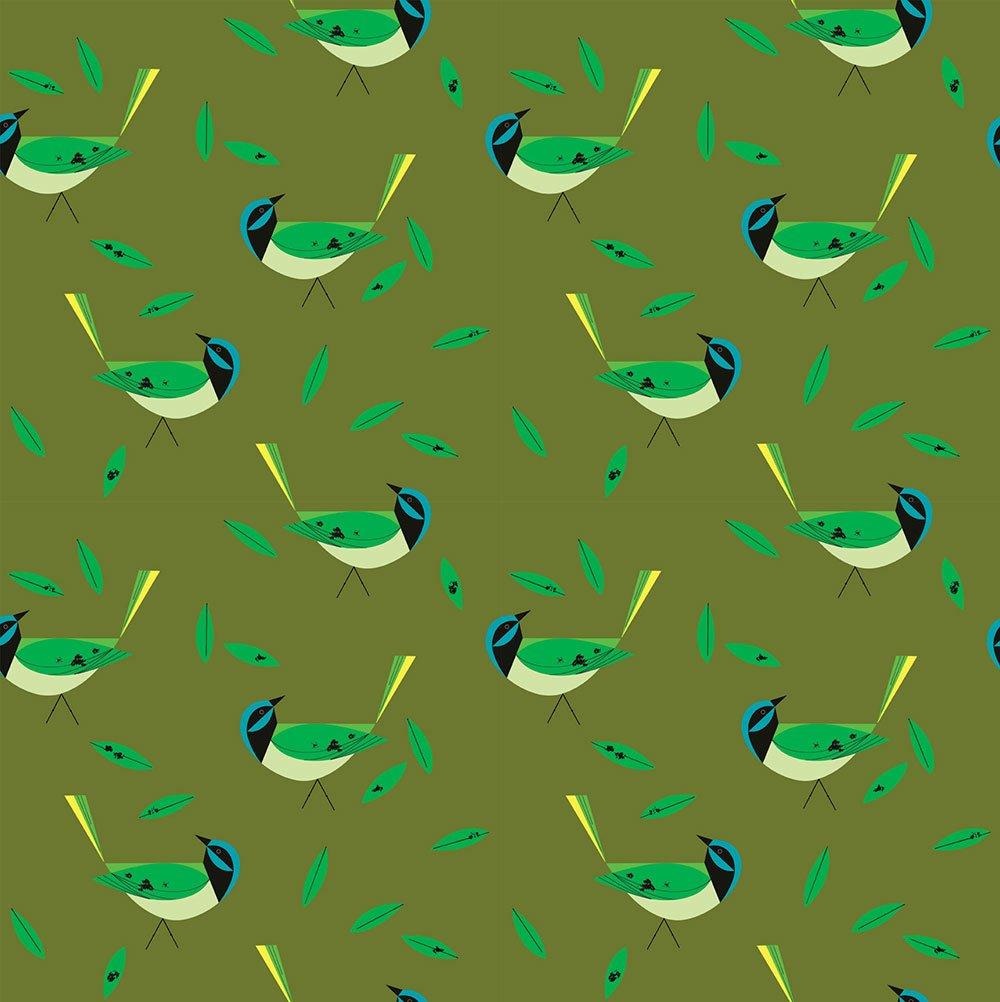 Charley Harper Western Birds - Green Jay (Green)