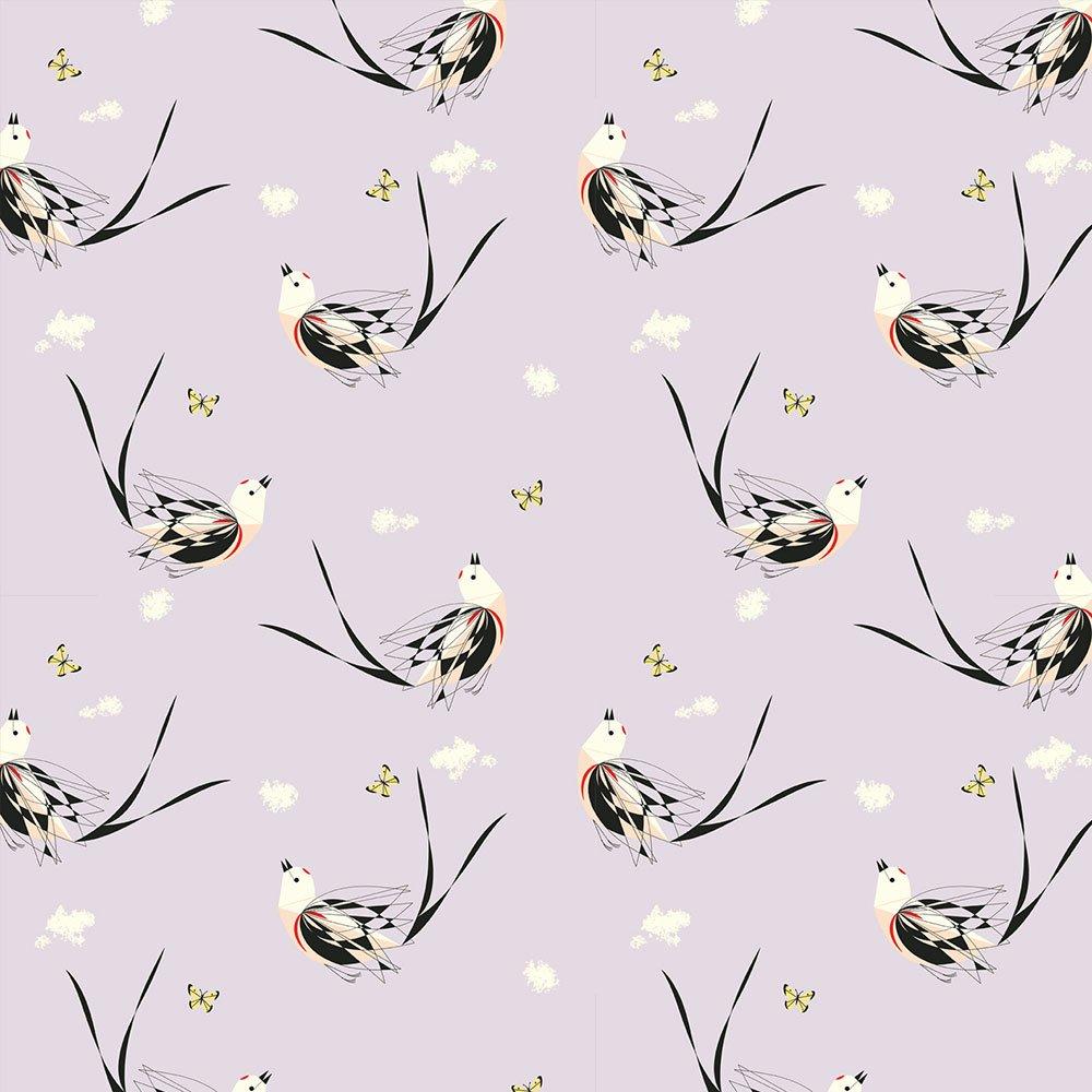 Charley Harper Western Birds - Scissortailed Flycatcher (Lilac Mist)