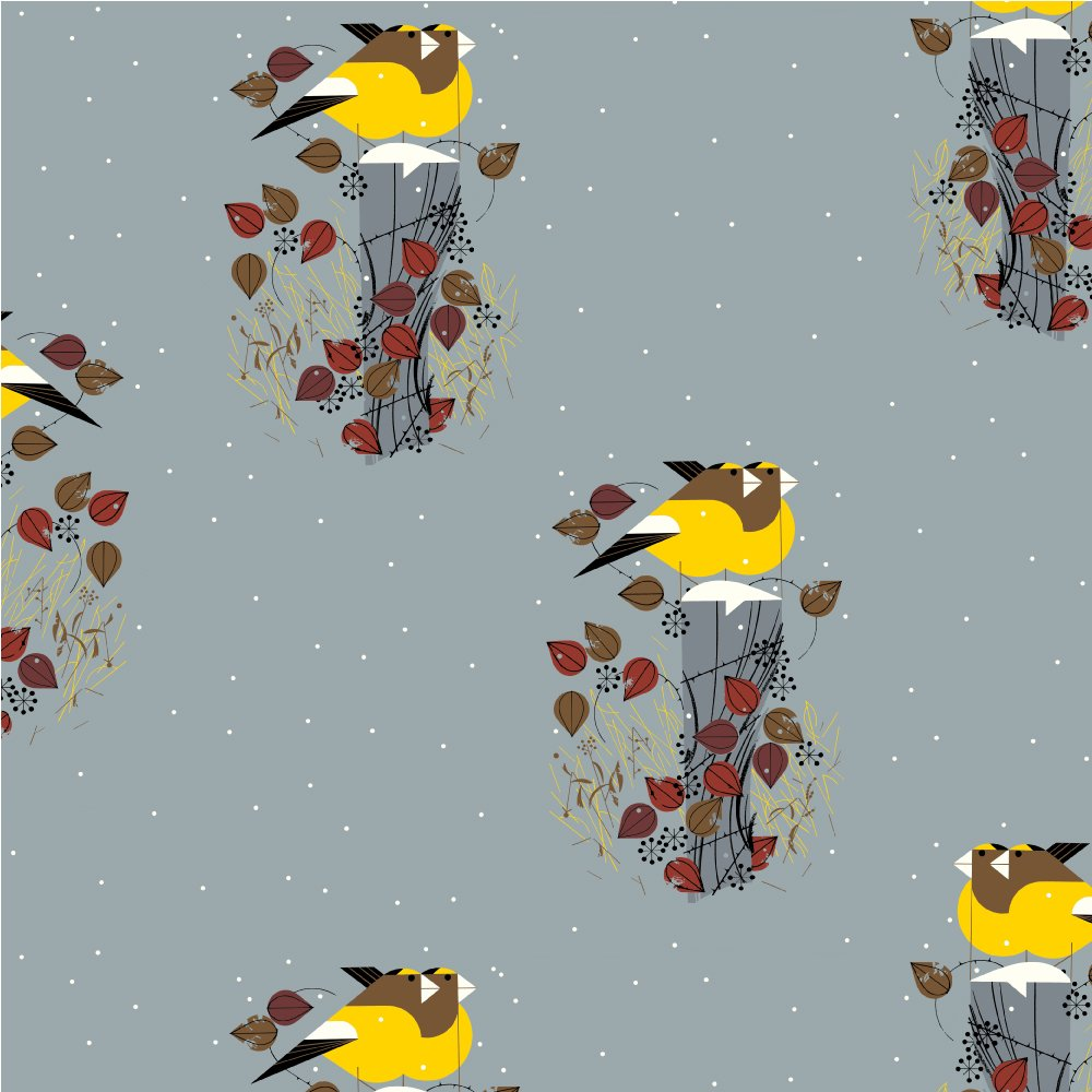 Charley Harper Holidays - Evening Grosbeaks