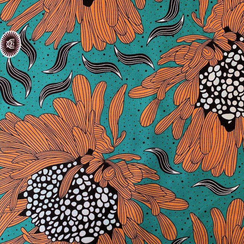Three Yard Cut African Wax Block Fabric (Angola)