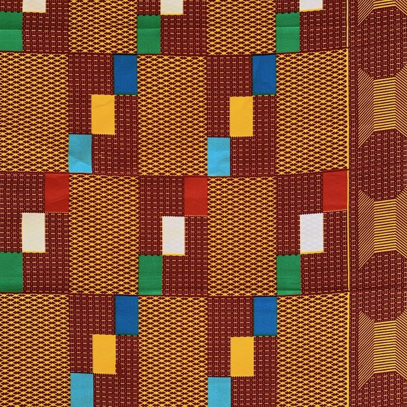 One Yard Cut African Wax Block Fabric (Djibouti)