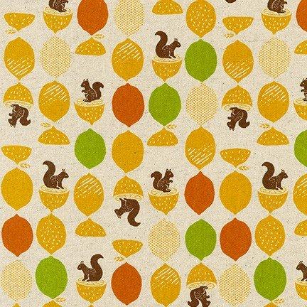 Robert Kaufman Cotton Flax Prints - Squirrel (Citrus)