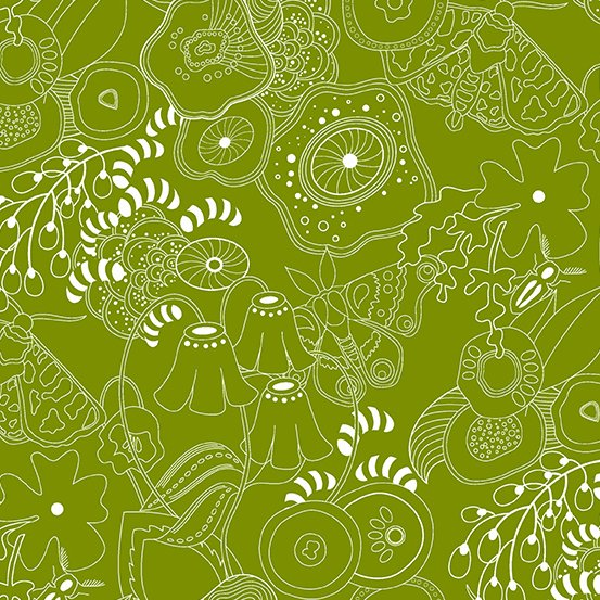 Alison Glass Hopscotch - Grow (Guacamole)