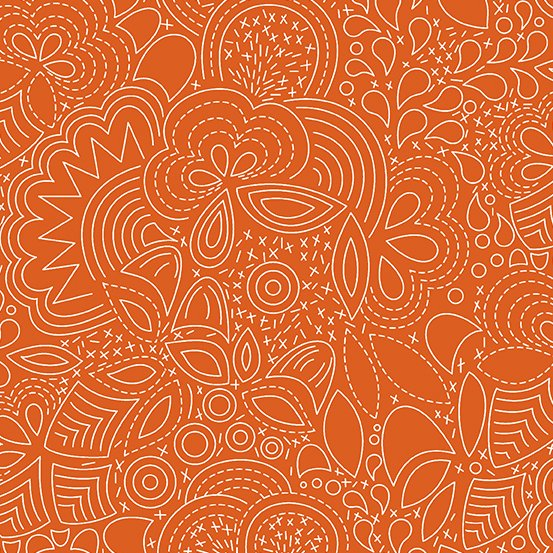 Alison Glass Hopscotch - Grow (Paprika)