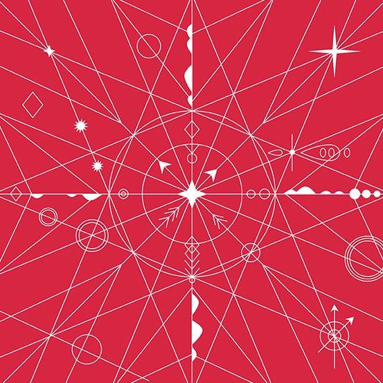 Alison Glass Hopscotch - Compass (Strawberry)