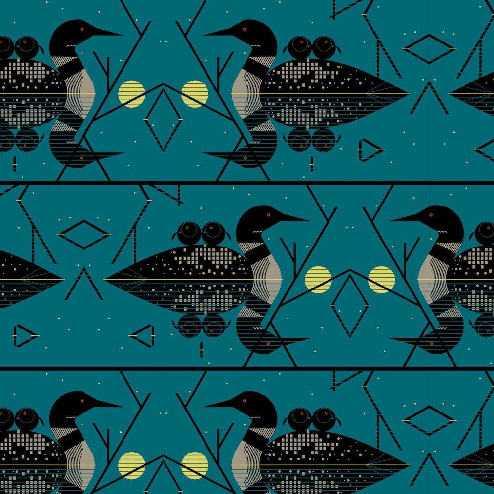 Charley Harper Canvas 2020 - Clair de Loon (Green)