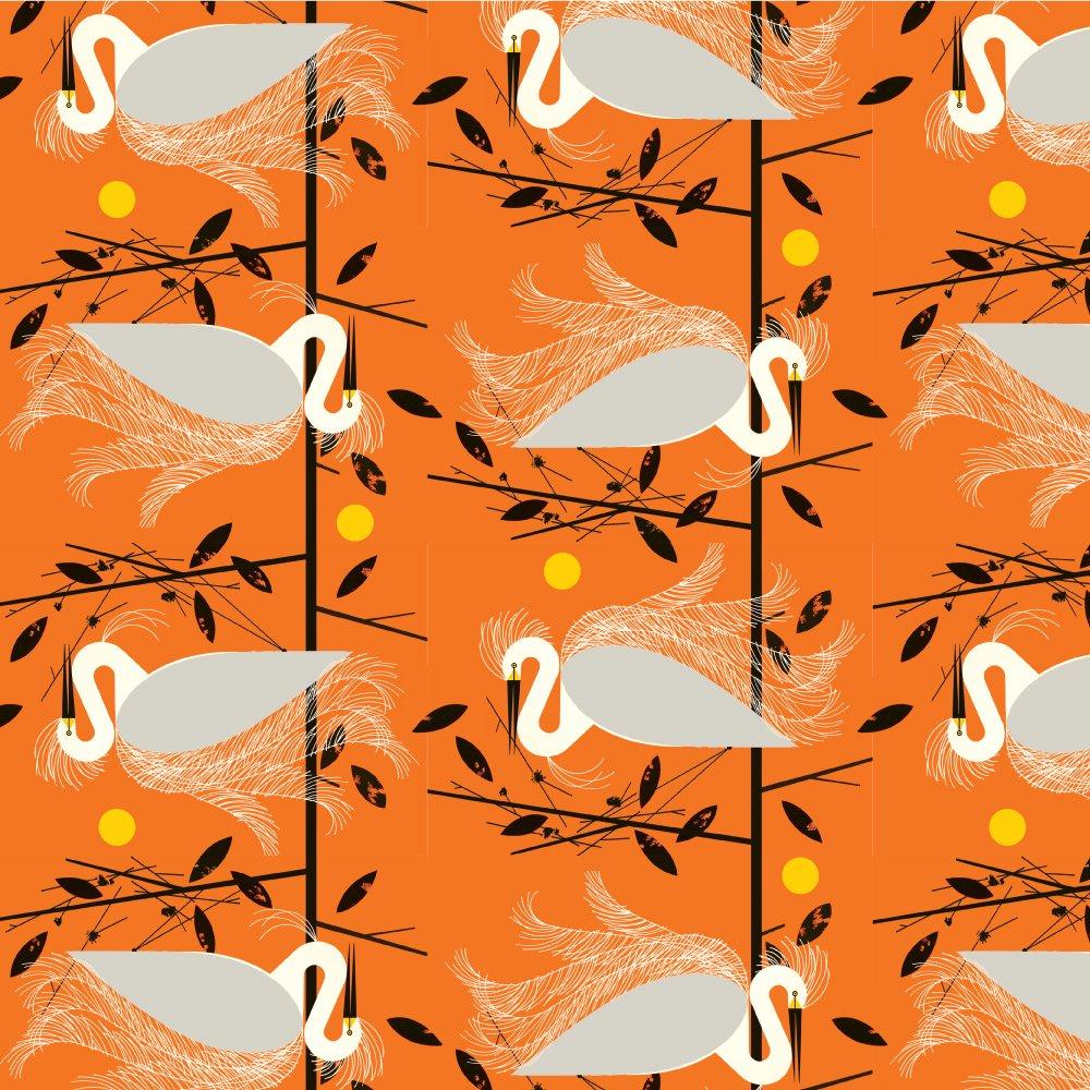 Charley Harper Canvas 2020 - Snowy Egret (Orange)