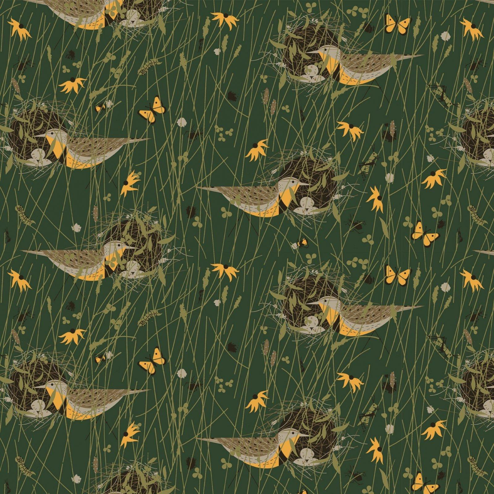 Charley Harper Canvas 2020 - Eastern Meadowlark (Green)