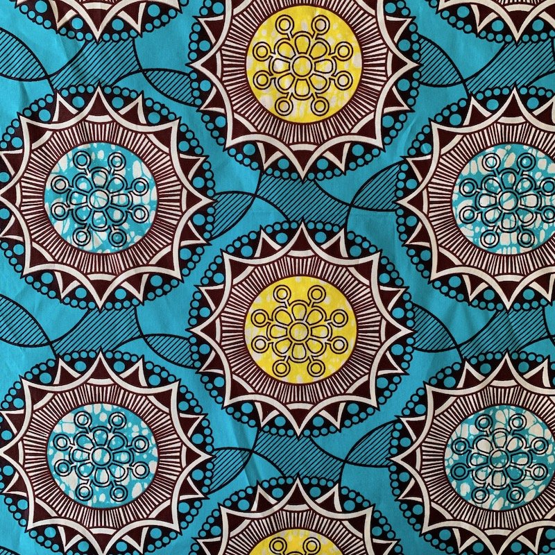 Three Yard Cut African Wax Block Fabric (Madagascar)