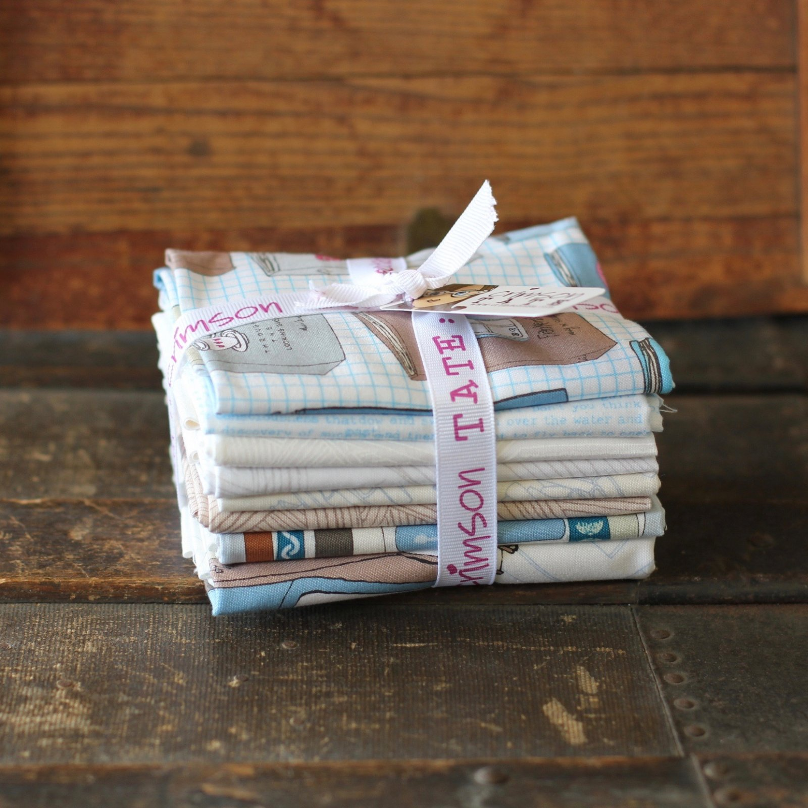 Heather Givans Literary - Summer Reading 7 pc. Fat Quarter + 1 Half Yard Bundle (Quiet Down)