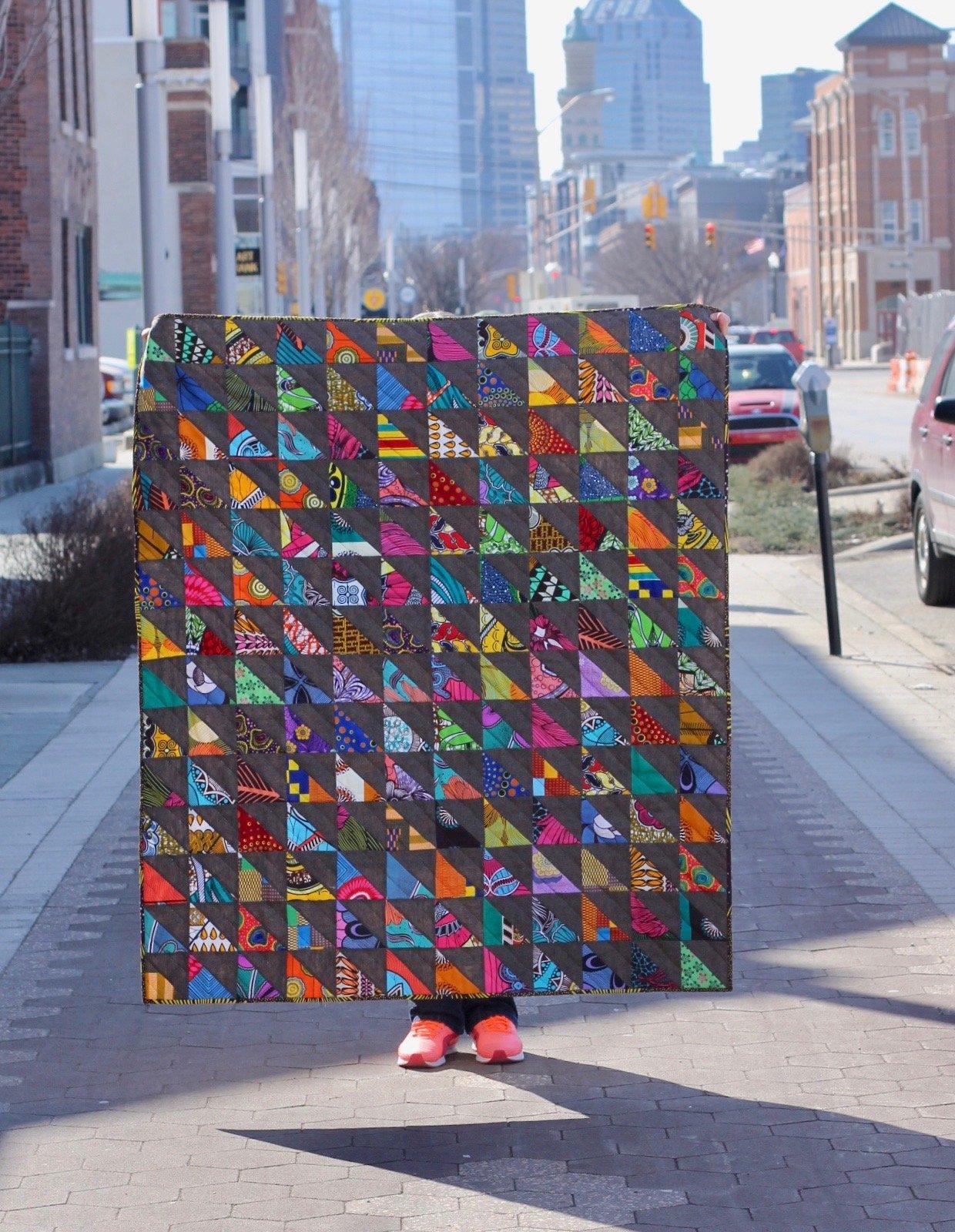 African Fabric Half Square Triangle Quilt Kit (Espresso)