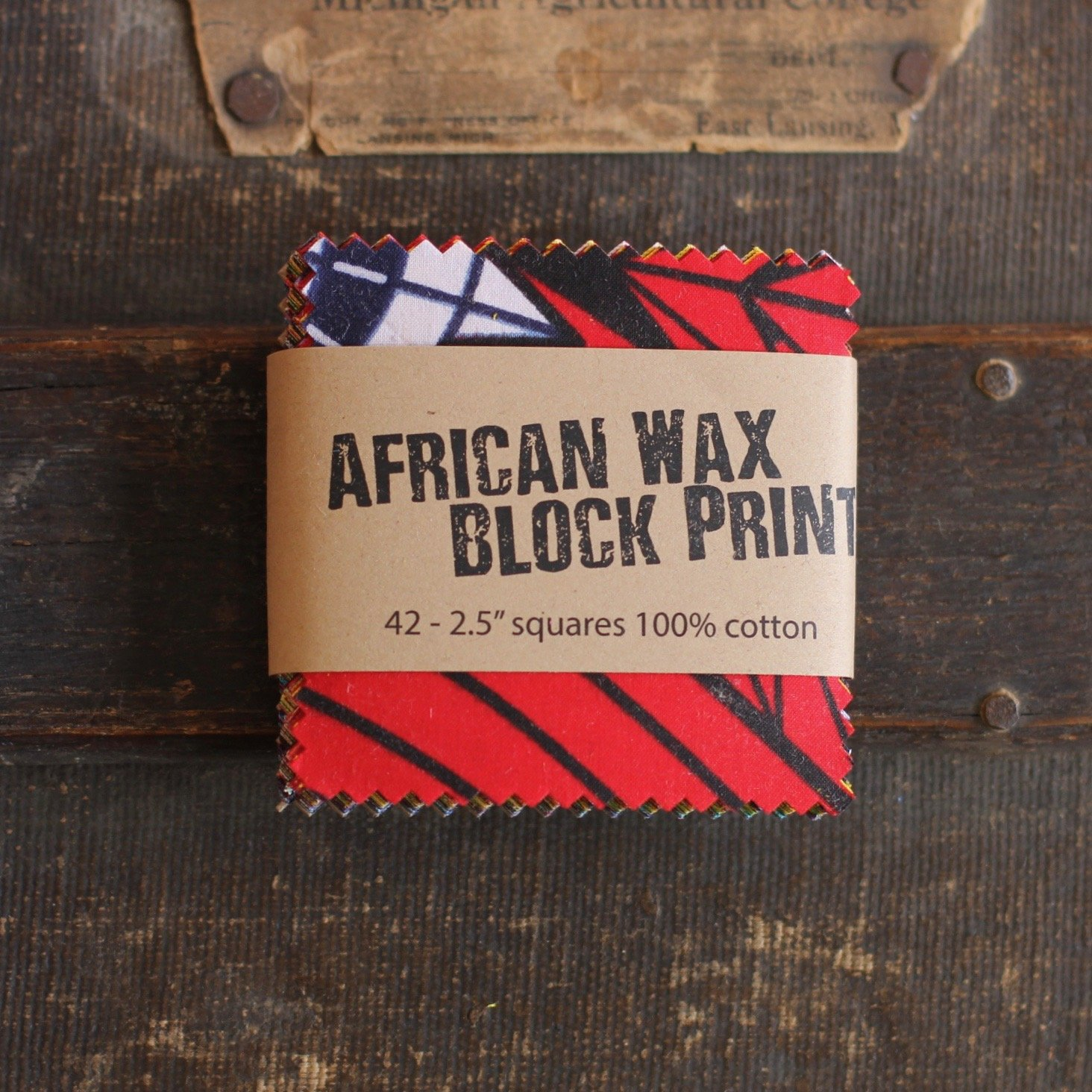 African Wax Block Print Mini Charms - (42) 2.5 squares