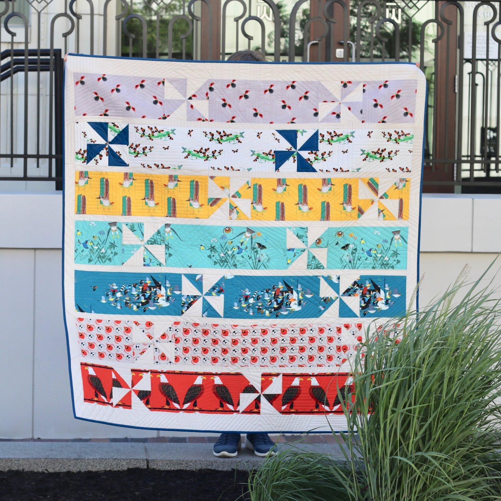 Summer Pinwheels Quilt Kit featuring Charley Harper