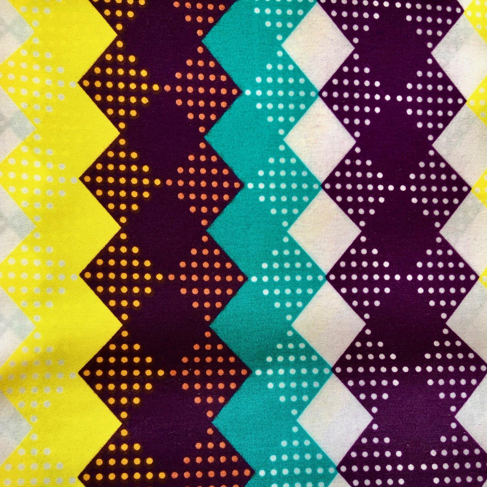 Three Yard Cut African Wax Block Fabric (Diamond Dots)