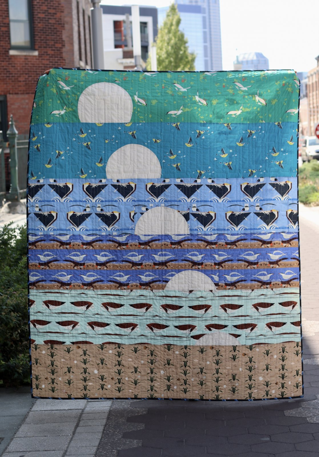 Sunset Bliss Quilt Kit featuring Charley Harper Coastal