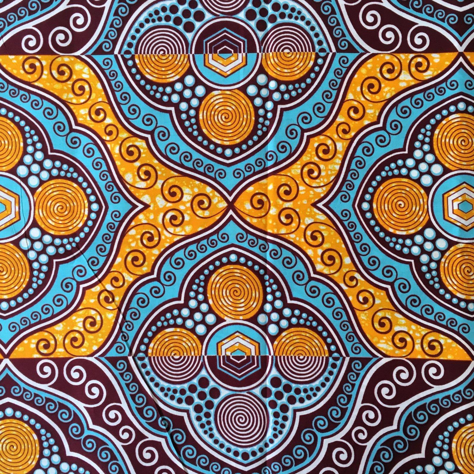 One Yard Cut African Wax Block Fabric (Bakoy)