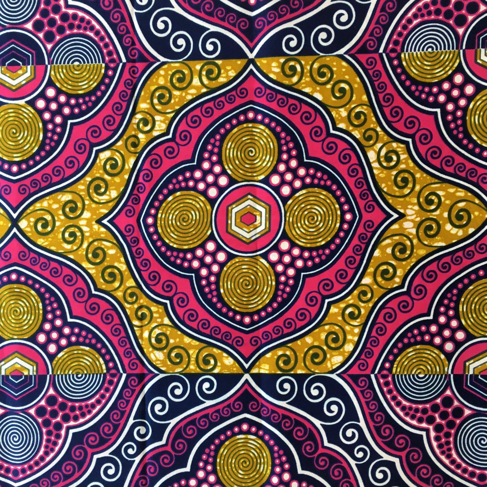 One Yard Cut African Wax Block Fabric (Bani)