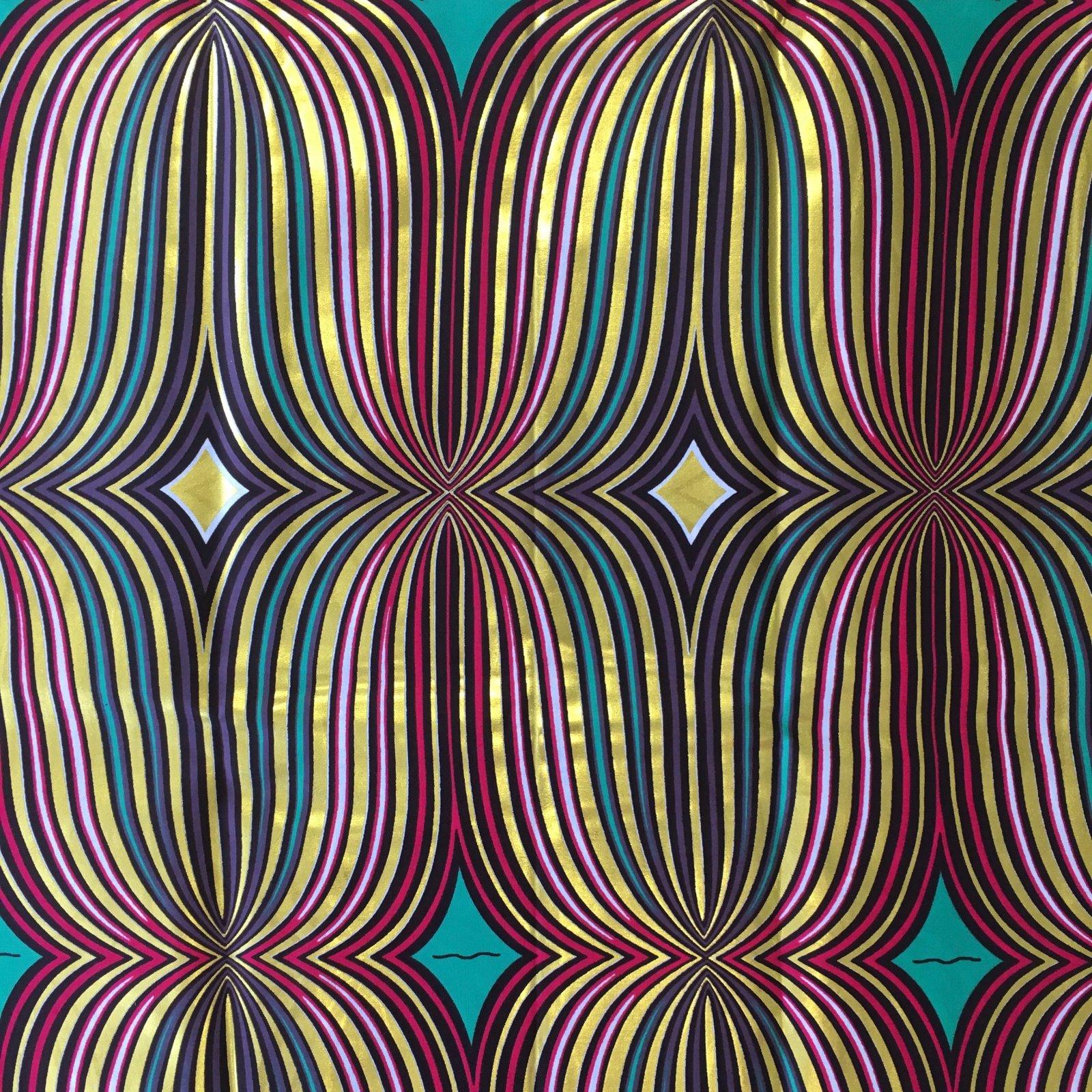 One Yard Cut African Wax Block Fabric (Volta)