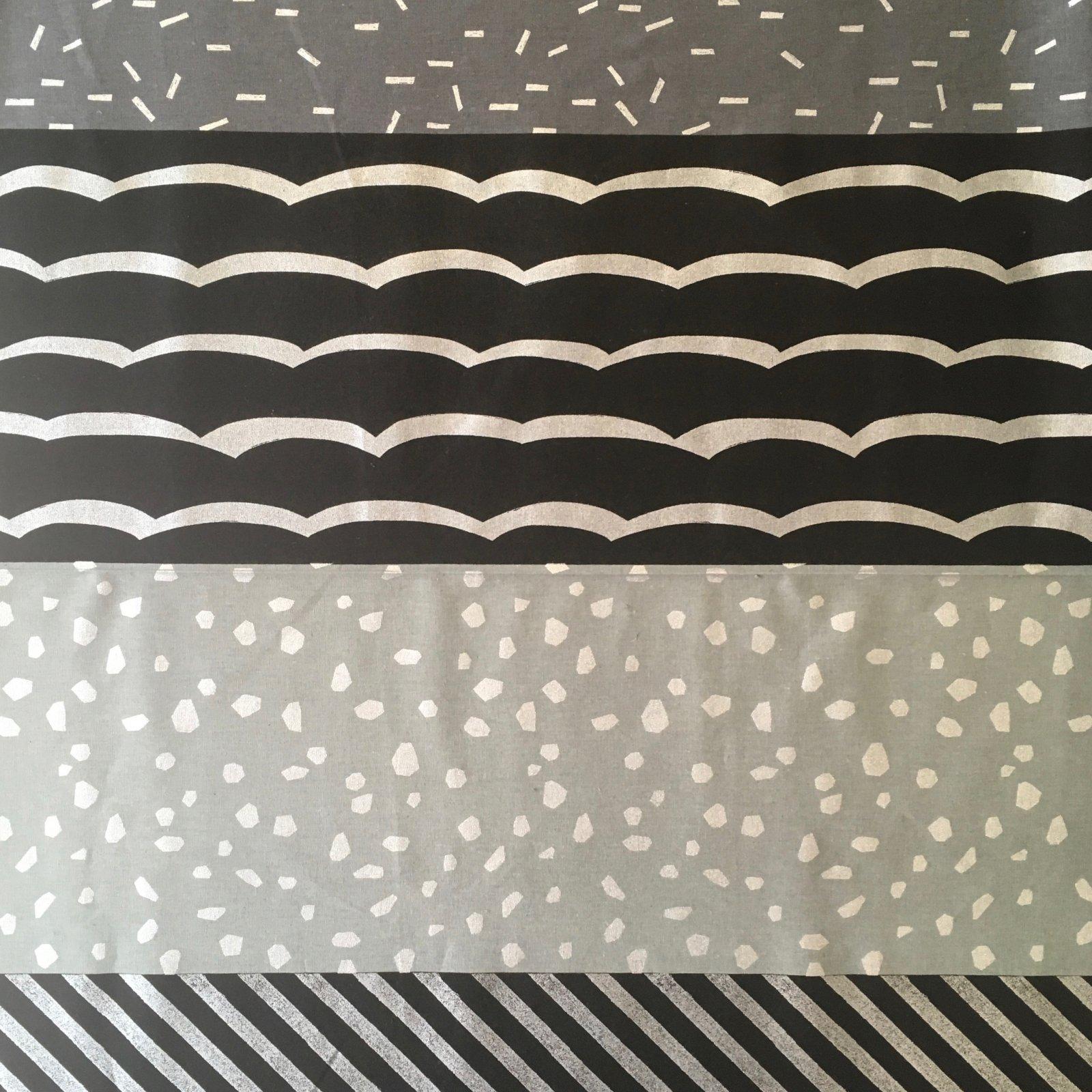 Echino Lightweight Canvas - Striped Happiness (Asphalt)