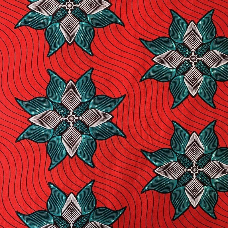 Three Yard Cut African Wax Block Fabric (Mozambique)