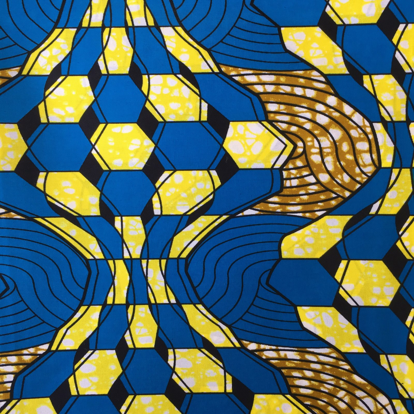 African Block Print One Yard Piece - Magic Eye (Water)