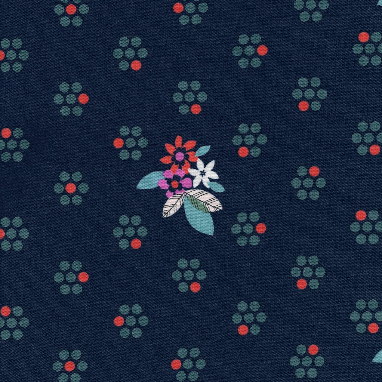 Melody Miller Fruit Dots - Fruit Blossoms (Navy)