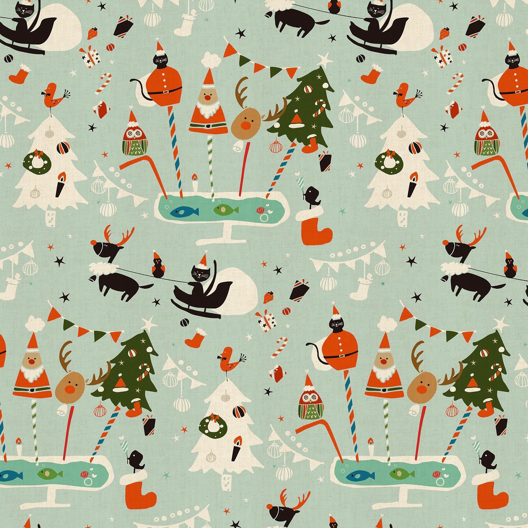 Cotton + Steel Waku Waku Christmas - Holiday Party (Aqua)