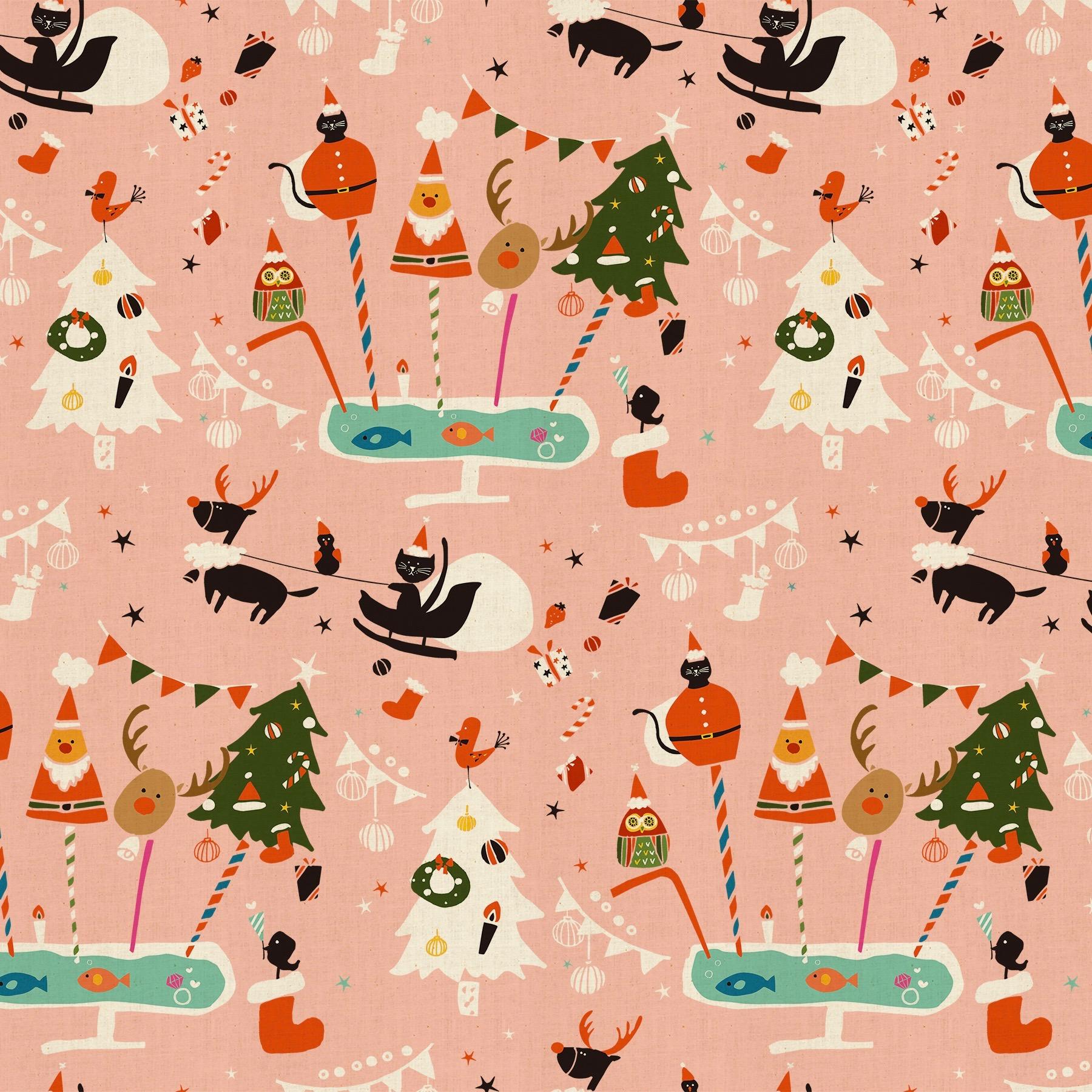 Cotton + Steel Waku Waku Christmas - Holiday Party (Pink)