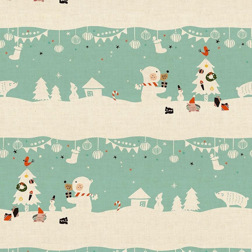 Cotton + Steel Waku Waku Christmas - Mr. Polar Bear (Aqua)