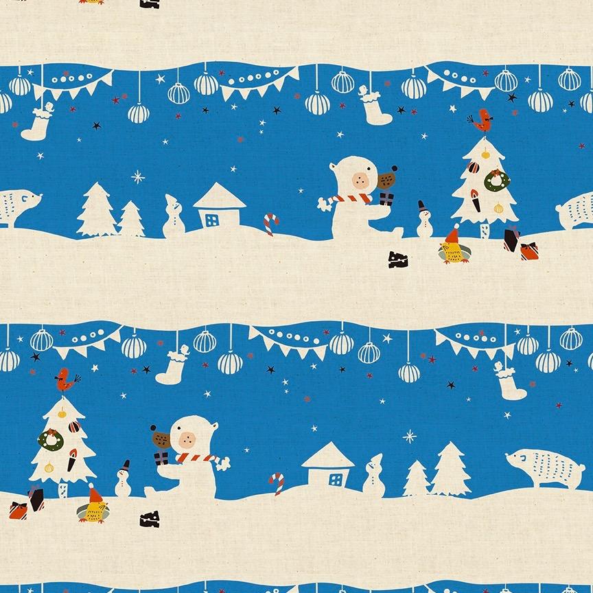 Cotton + Steel Waku Waku Christmas - Mr. Polar Bear (Blue)