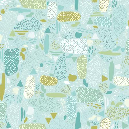 Cotton + Steel Girl's Club - Pebbles (Aqua)