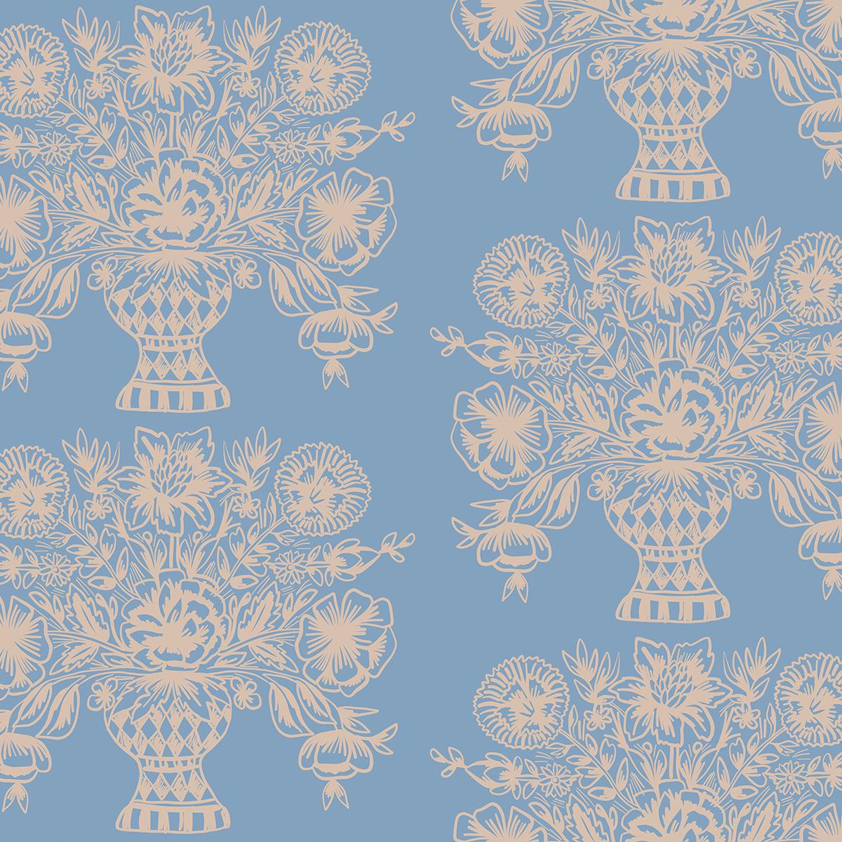 Rifle Paper Meadow - Vase Block Print (Blue)