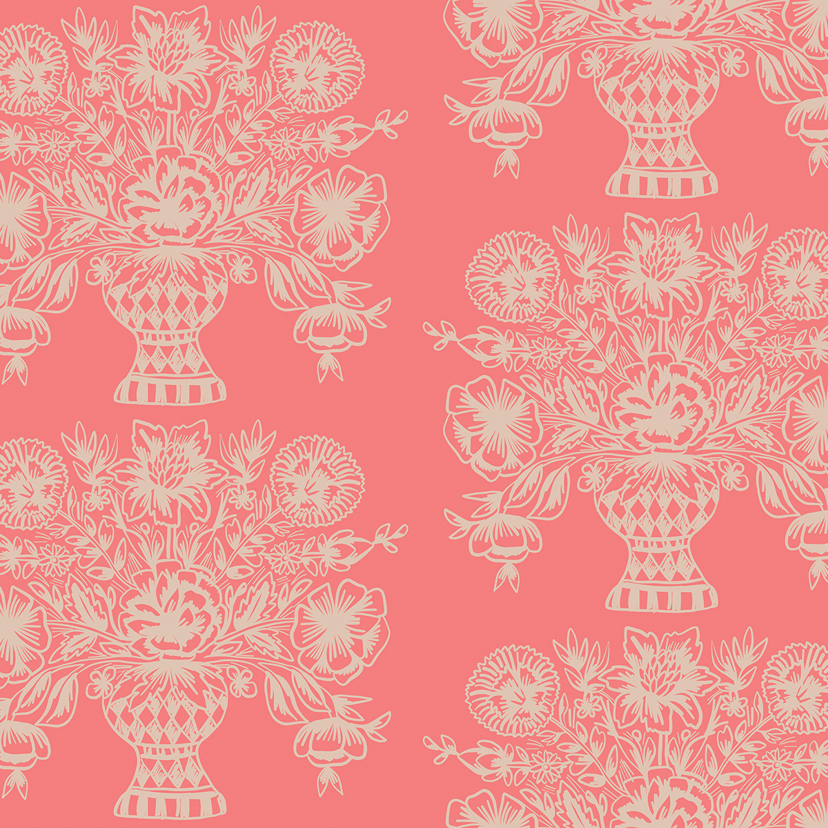 Rifle Paper Meadow - Vase Block Print (Coral)