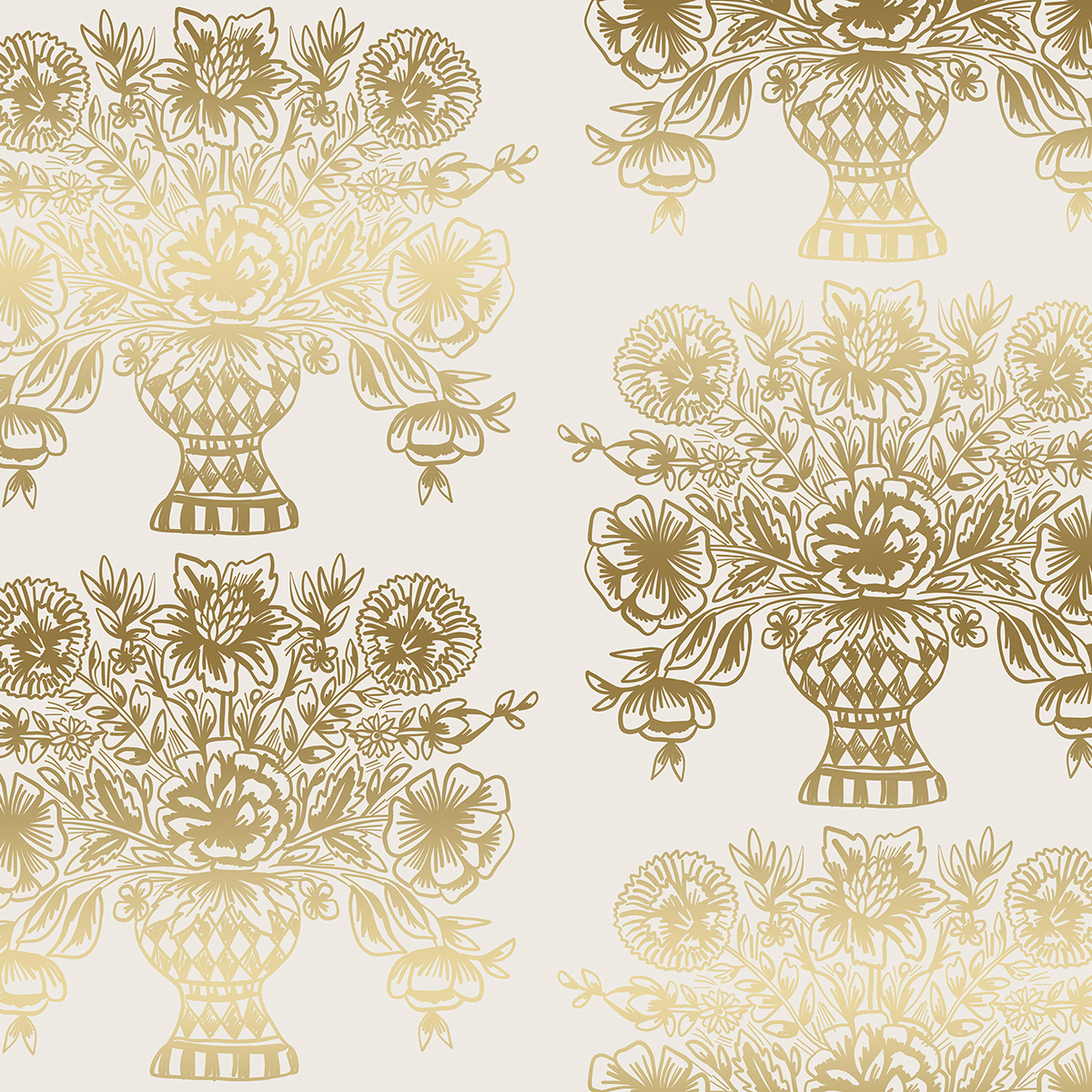 Rifle Paper Meadow - Vase Block Print (Cream Metallic)