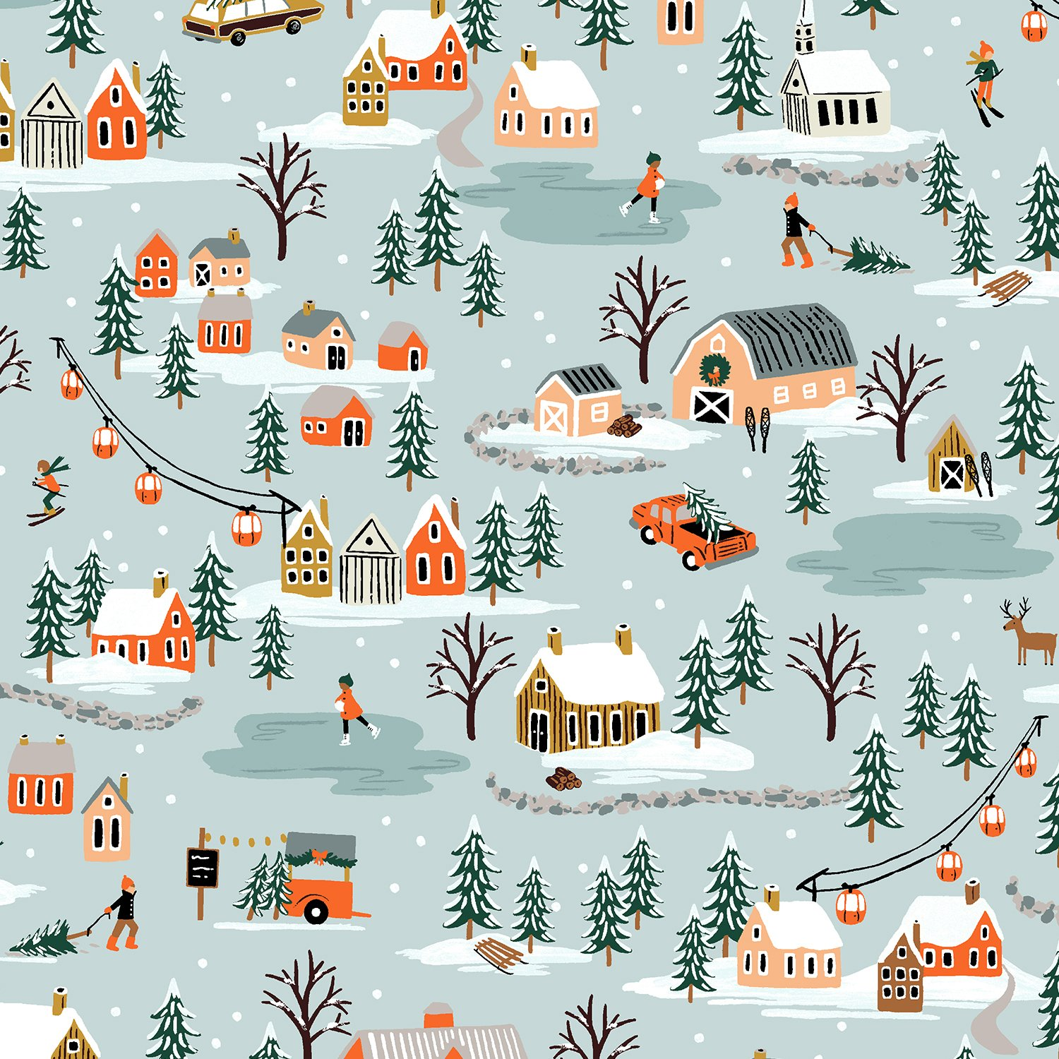 Rifle Paper Holiday Classics - Holiday Village (Misty)