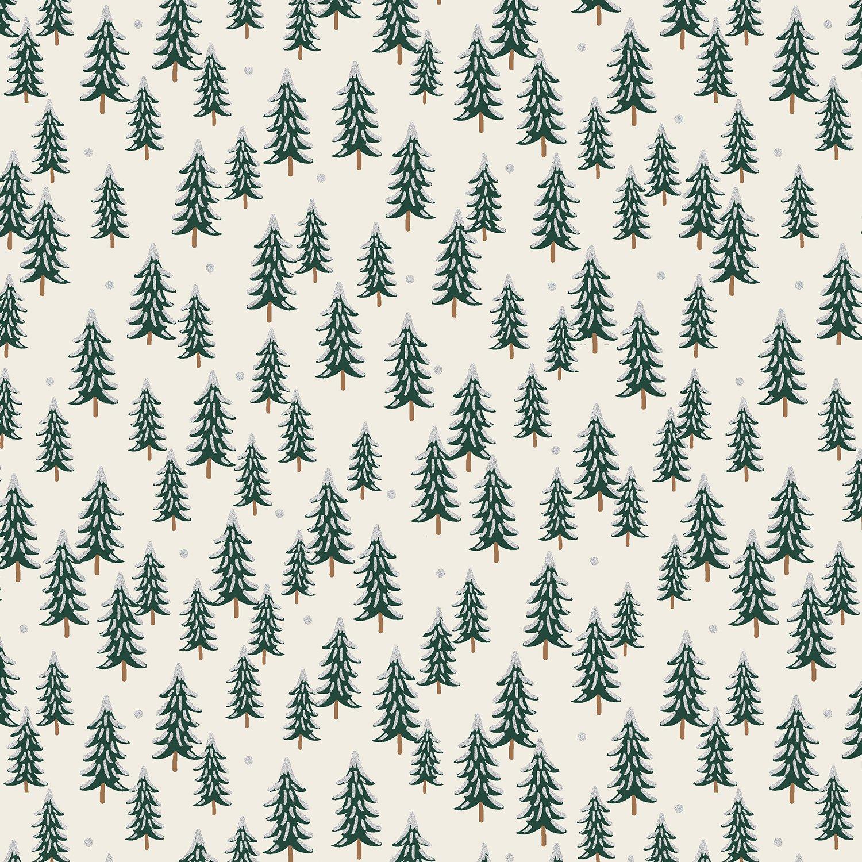 Rifle Paper Holiday Classics - Fir Trees Metallic (Silver)