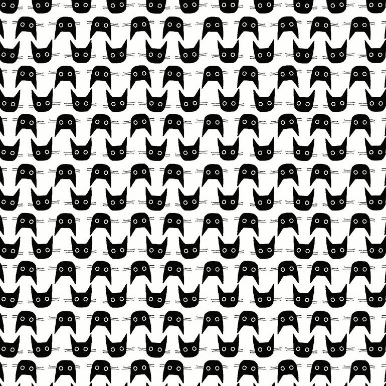 Dear Stella Les Chats Noirs - Cat Heads (White)