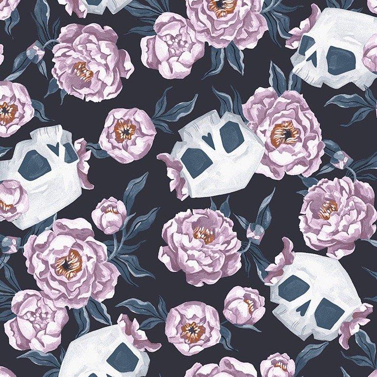 Dear Stella Toil & Trouble - Skull Floral (Graphite)
