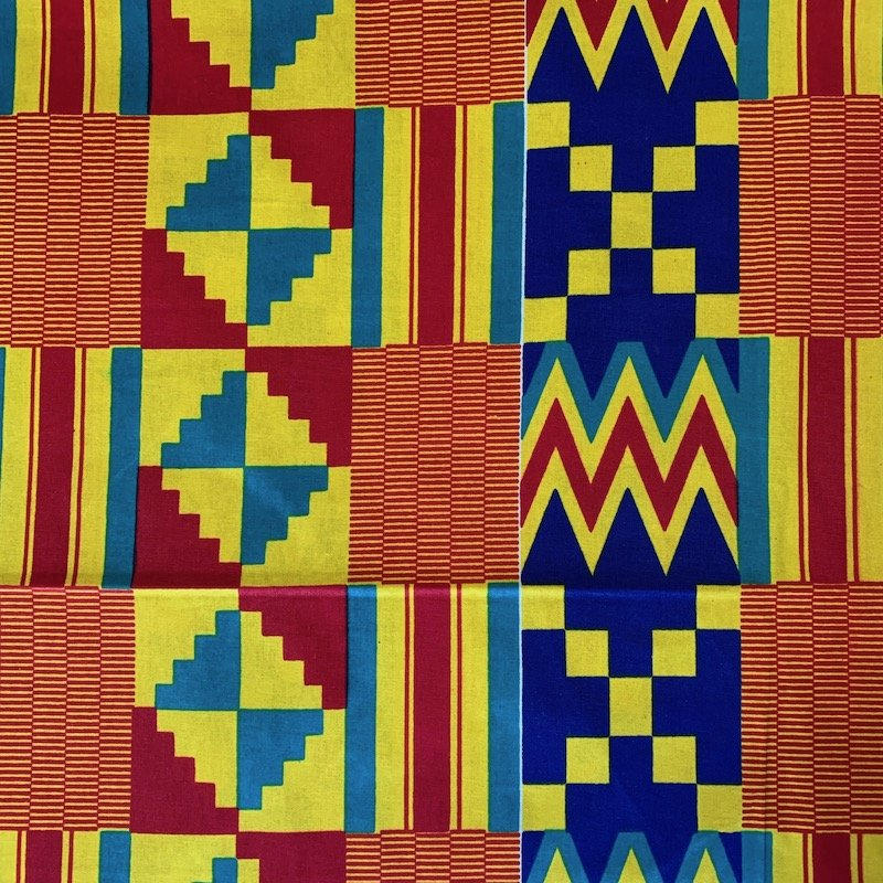 One Yard Cut African Wax Block Fabric (Zambia)
