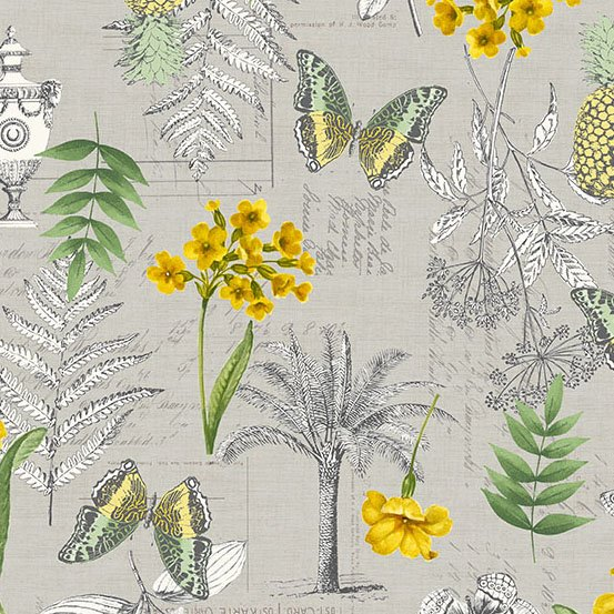 Makower UK Fern Garden - Montage (Grey)