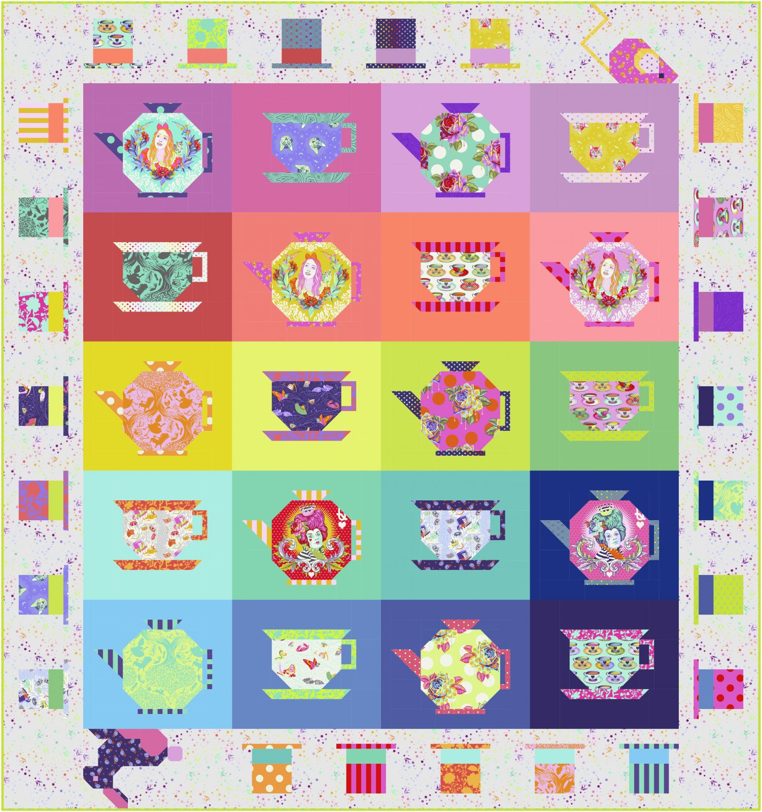 Coming Soon! Tula Pink Mad Hatter's Tea Party Quilt Kit