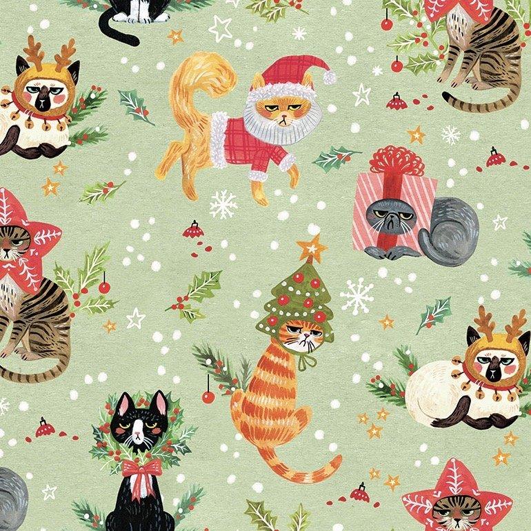 Dear Stella Minky Holiday - Not Ameowsed (Multi)