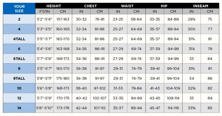 BARE Evoke Size Chart