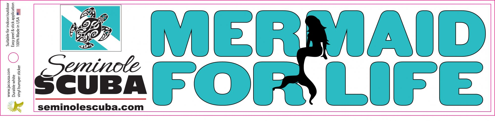 MERMAID FOR LIFE BUMPER STICKER
